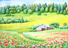 Watercolor vivid painting of countryside Royalty Free Stock Photos