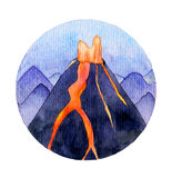 Watercolor volcano illustration Stock Photography