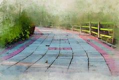 Watercolor walkway block stone in garden. art background vintage style stock photos