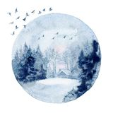 Watercolor wall art, winter landscape vector illustration