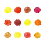 Watercolor warm palette 12 color circles. Watercolor vector big set. Warm colors circles on white background Royalty Free Stock Photography