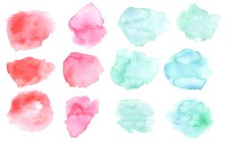 Watercolor washout blot in pink and blue color. Watercolour blots isolated on white background. Color and water gradient. Watercolor washout blots in pink and stock illustration