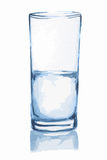 Watercolor water glass. stock illustration