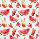 Watercolor watermelon and cocktail seamless pattern. Hand painted watermelon slice with fruit cocktail isolated on Stock Image