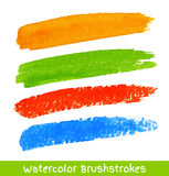 Set of Colorful Watercolor Brush Strokes Stock Photography