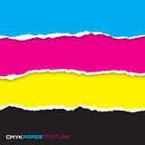 Set of lacerated bright papers in cmyk colors. Vector illustration Royalty Free Stock Photos