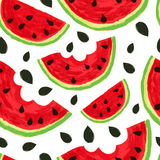 Watercolor watermelon slices, seamless background. Vector illust Stock Photography