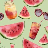 Watercolor watermelon, sunglass and cocktail big seamless pattern. Hand painted watermelon slice with fruit cocktail Royalty Free Stock Image