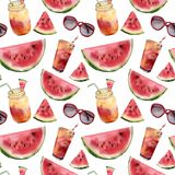 Watercolor watermelon, sunglass and cocktail seamless pattern. Hand painted watermelon slice with fruit cocktail Stock Image