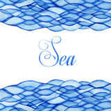 Watercolor waves, sea theme, blue maritime frame Stock Image