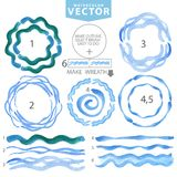 Watercolor wavy brushes,circle frame.Cyan,blue Royalty Free Stock Image