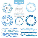 Watercolor wavy brushes,circle frame.Cyan,blue sea.Summer Royalty Free Stock Photos