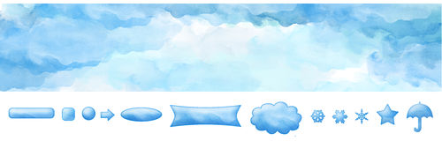Watercolor Web Banner Blue Sky and Buttons