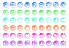 Watercolor web icon set, vector Stock Photo