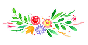 Watercolor wectorized different flowers stock illustration