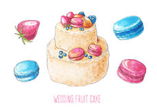Watercolor wedding cake and berry set Royalty Free Stock Images