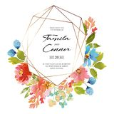 Watercolor wedding card stock illustration