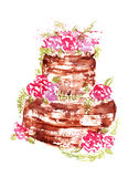 Watercolor wedding chocolate cake with pink flowers and leaves on a white background Royalty Free Stock Photography