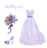 Watercolor wedding dress set in popular serenity color Stock Images