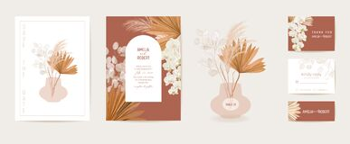 Free Watercolor Wedding Dried Lunaria, Orchid, Pampas Grass Floral Invitation. Vector Exotic Dry Flowers, Palm Leaves Stock Images - 202775684