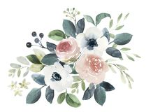 Free Watercolor Wedding Floral Bouquet Composition With Blush Roses A Stock Image - 131378911