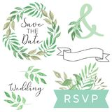 Watercolor Wedding Foliage Save the Date Leaves Leaf Scroll Banner Wreath Clipart. Hand Painted and Hand Drawn elements - Watercolor Wedding Foliage pieces royalty free illustration