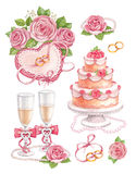 Watercolor wedding illustrations Stock Photography