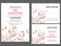 Watercolor Wedding Invitation Card. With branch and love birds stock illustration