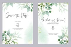 Watercolor wedding invitation cards. Greenery poster, invite. Elegant wedding invitation with watercolor green and gold