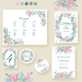 Watercolor wedding invitation cards suite royalty free illustration