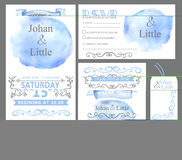 Watercolor wedding invitation set.Cyan stein. Watercolor wedding invitation card set.Cyan sky stein,ribbons,grey swirling borders,frames decor,arrows,text.Tag Royalty Free Stock Image