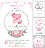 Watercolor wedding invitation set.Pink roses. Watercolor wedding  invitation card set with floral group of pink roses.Cute vintage elements,swirls,wreaths,hearts Stock Photography