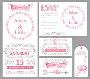 Watercolor wedding invitation set.Pink,swirling Royalty Free Stock Photos