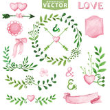Watercolor Wedding set.Branches,laurels wreath,pink decor Royalty Free Stock Image