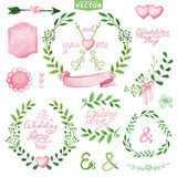 Watercolor Wedding set.Branches,laurels wreath,pink decor Royalty Free Stock Images