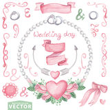 Watercolor wedding set with pink roses.Cute Stock Image