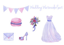 Watercolor wedding set in popular serenity color Stock Photography