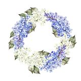 Watercolor wedding wreath with lilac flowers.