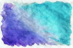 Colorful blue watercolor background for wallpaper. Aquarelle bri. Watercolor wet background. blue and violet colors. Watercolor abstract background. Hand painted royalty free stock photography