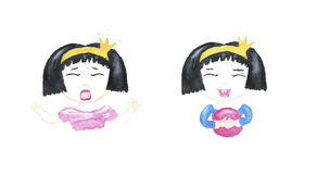 Watercolor whimsical girls Princess Royalty Free Stock Photo