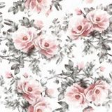 Watercolor On White Background Floral Pattern Seamless Pattern With Pink Flowers And Leaves Royalty Free Stock Photography