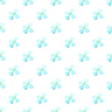 Watercolor white blue flower seamless vector pattern light background. Small daisies summer, daisy field Royalty Free Stock Image
