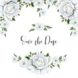 Watercolor white flowers bouquets and border. Great start. Hand drawn watercolor floral wedding frame isolated on white background stock illustration