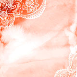 Watercolor with white lace Stock Photos