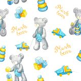 Watercolor white pattern with plush bear and yellow lettering stock illustration