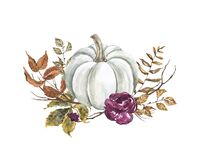 Watercolor white pumpkin and fall leaves illustration. Floral autumn arrangement, isolated