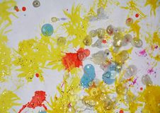 Watercolor white waxy paint in sparkling colors. Watercolor white waxy painting hues in sparkling hues, in red, yellow, blue, golden and orange colors. Abstarct Royalty Free Illustration