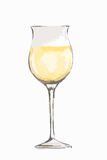Watercolor white wine glass. Royalty Free Stock Images