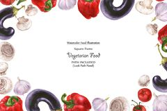Watercolor wide vegan frame by freshness vegetables. Watercolor wide vegan frame by freshness eggplant,mushroom, tomato, pepper and garlic. Isolated, clipping stock illustration