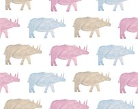 Watercolor wild animals of africa - rhinoceros. Hand drawn stock illustration